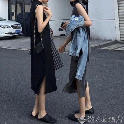 無袖洋裝2019春季新款韓版寬鬆百搭無袖中長款氣質立領背心打底連身裙子女