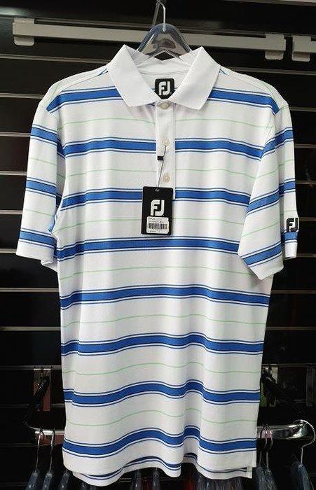 (易達高爾夫) 全新原廠FOOTJOY 21854 #S號 白底藍橫條 男短袖上衣