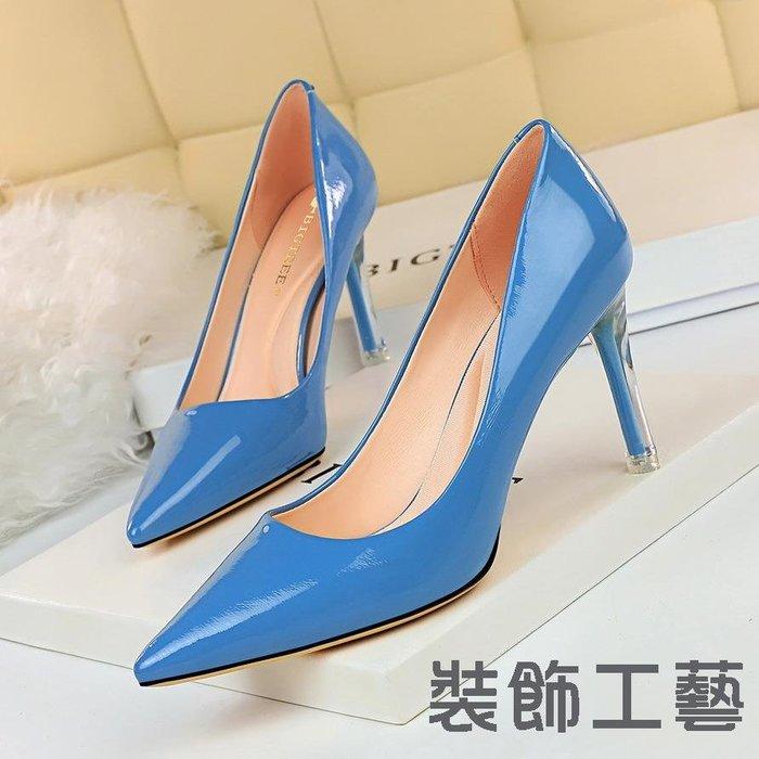 1729-1韓版秀氣顯瘦高跟鞋透明水晶跟高跟漆皮淺口尖頭性感女單鞋