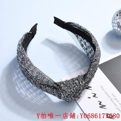 台北新星【季末清倉】lingo Codes銀色亮絲扭結時尚百搭女士發箍頭飾發帶滿額免運
