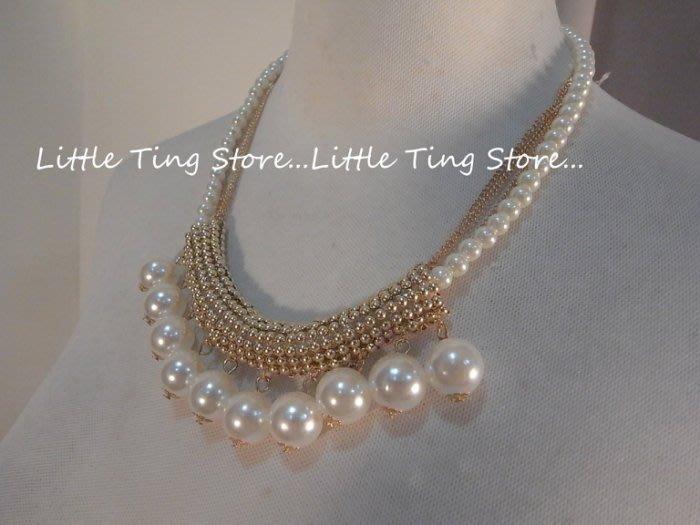 LitLittle Ting Store 婚禮宴會適用配件新娘秘書鎖骨大珍珠水鑽排鑽排圈鍊鎖骨鍊短項鍊 珍珠鍊
