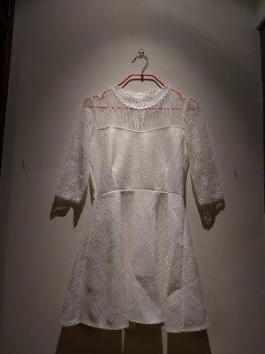Yi Fan Feng Shun 白色肩袖拼蕾絲五分袖洋裝