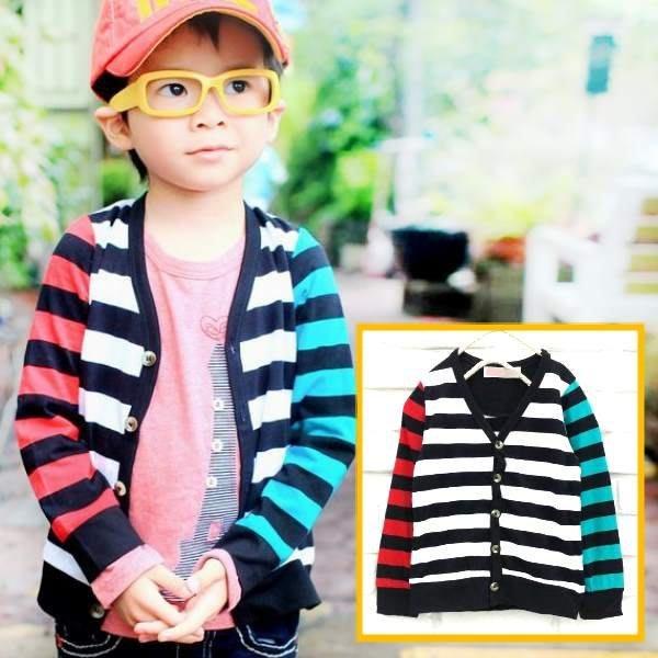 【班比納精品童裝】不對稱接袖橫條紋外套-黑白