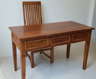 【南台灣傢俱】工廠直營***4.2尺印尼柚木全實木辦公桌書桌電腦桌***市價$14000元,超低特價$9500元