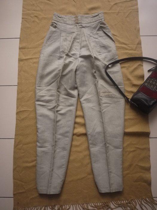 【二手精品好衣】CADINA 米色高級純棉麻造型高腰長褲 M號 上班外出皆宜 幾近全新 衣櫃爆滿清倉特賣價