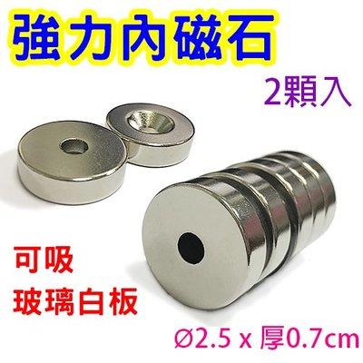 【M155】強力內磁石2.5cm(2顆裝)/強力內磁鐵 強力磁鐵 吸鐵 圓形磁鐵 銀色磁鐵 圓磁鐵 玻璃白板磁鐵
