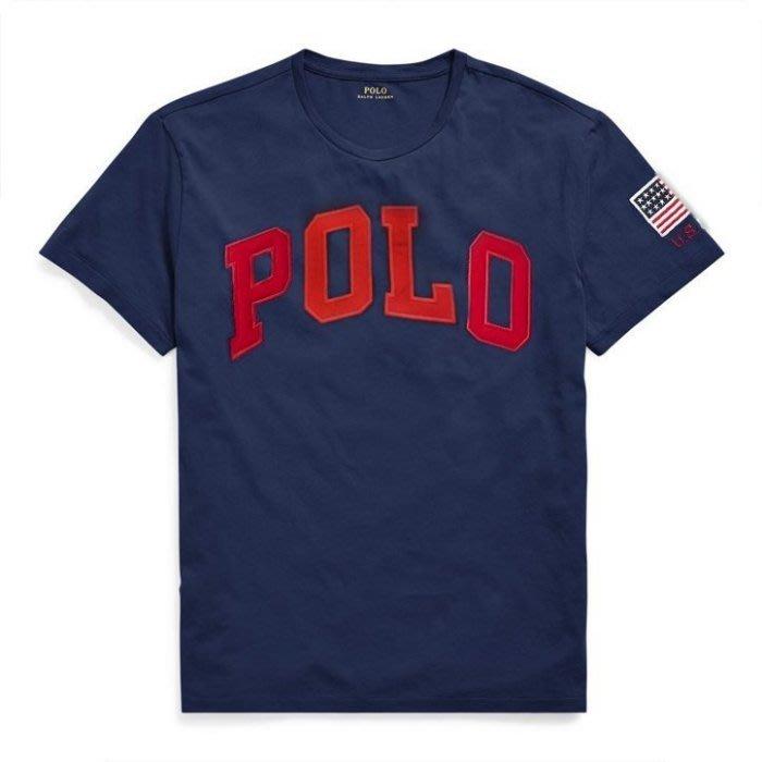 【Polo Ralph Lauren】RL 大男童男生 短袖T恤 國旗POLO貼布 純棉圓領短袖T恤 潮T 深藍色