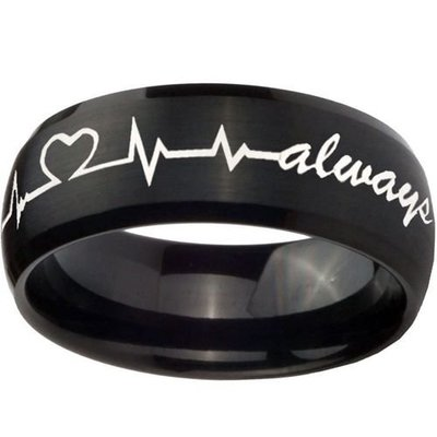 coi jewelry black tungsten carbide faceted wedding band ring 戒指