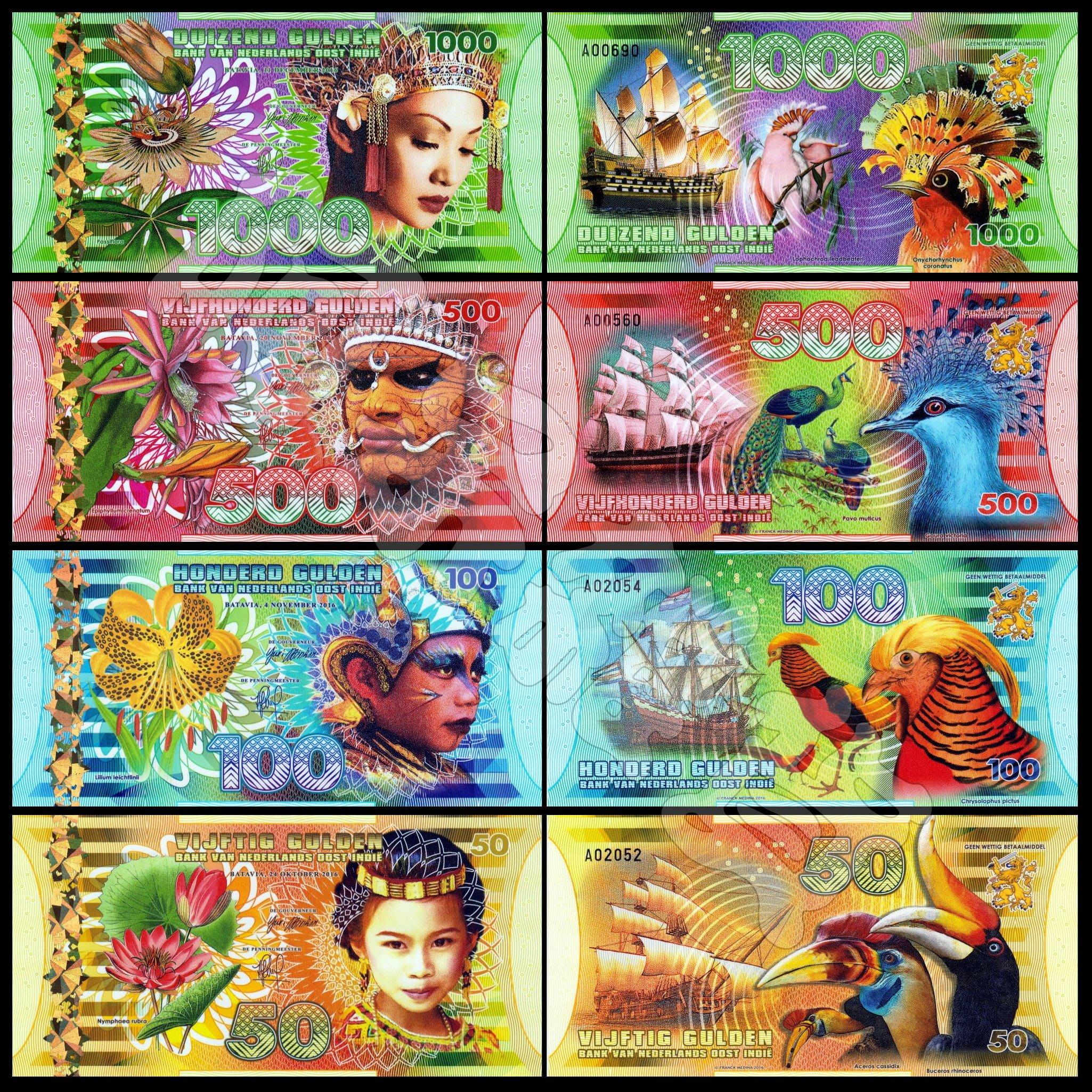 森羅本舖 現貨實拍 荷屬東印度 50-1000盾 四張一套 塑料鈔 孔雀 蘇拉皺盔犀鳥 商業紀念鈔 猴 螃蟹 人物