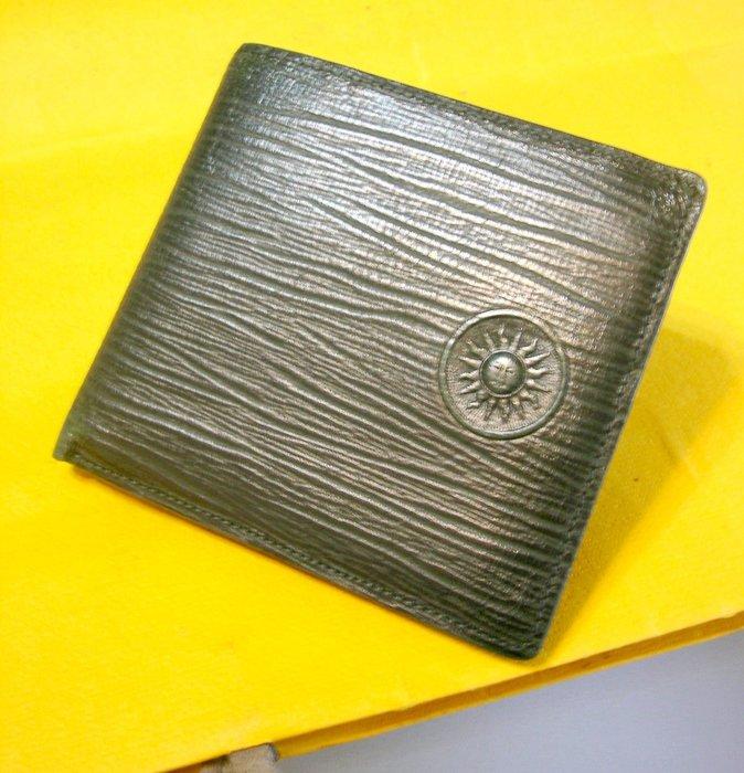 Yahoo唯一 義大利製 VERSACE 凡賽斯 中性 水波紋 純牛皮皮夾 絕版真品