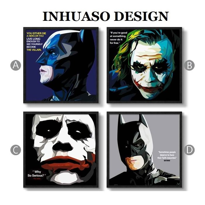 INHUASO 癮|画|所 POP波普藝術DC英雄正義聯盟掛畫蝙蝠俠黑暗騎士小丑希斯萊傑禮物電影海報裝飾畫(4款可選)