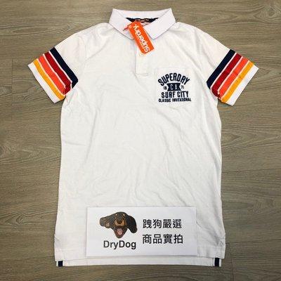 印度製 現貨 跩狗嚴選 極度乾燥 Superdry Polo衫 上衣 短袖 短T 純棉 彩虹 白 光學白