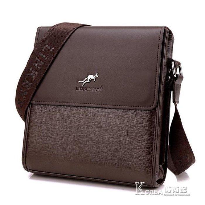 林肯袋鼠男包單肩包男士包包休閒斜斜背包商務公文包男皮包橫豎背包