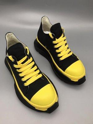 RICK RO DS DRKSHDW 2021ss 緞面黃色雙層底低統休閒鞋