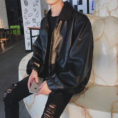 2018秋裝新款翻領皮衣外套男士韓版青少年修身帥氣潮流機車皮夾