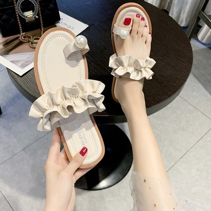 拖鞋 荷葉邊珍珠套趾網紅拖鞋女外穿2019新款夏季百搭時尚平底沙灘涼拖