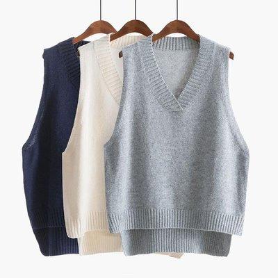 V領針織馬甲女毛衣背心秋冬2018新款韓版寬鬆馬夾短款bf無袖坎肩