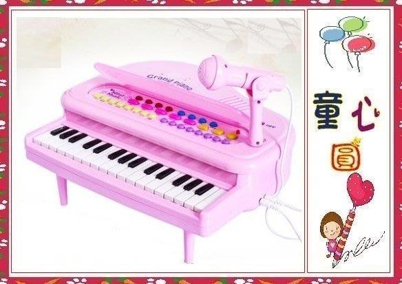 兒童歡樂電子琴 麥克風 兒童玩具 32琴鍵 音樂 音效 仿鋼琴多功能電子琴~粉色~◎童心玩具1館◎