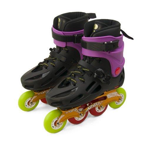 利卡夢鞋園–D.L.D 多輪多 鋁合金底座 專業平花直排輪 溜冰鞋 黑紫 GP-003