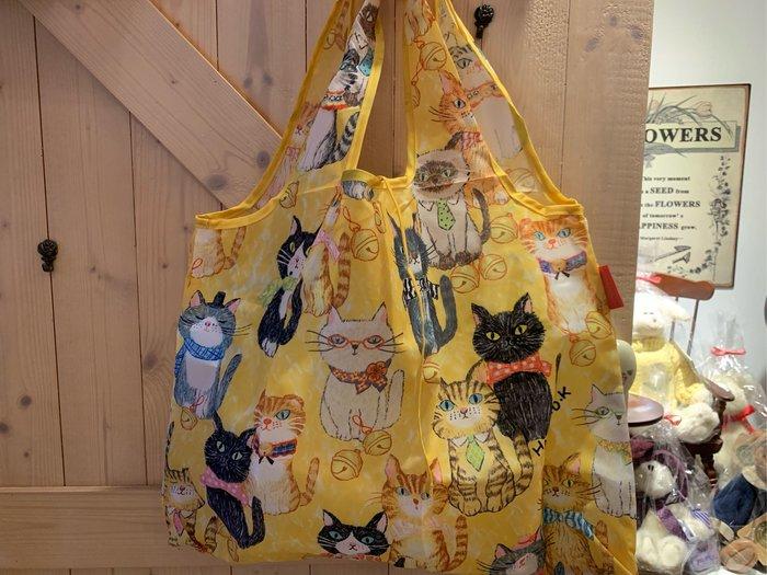 *黑頭小羊雜貨小舖*日本帶回zakka~日本設計小貓咪黃色環保購物袋