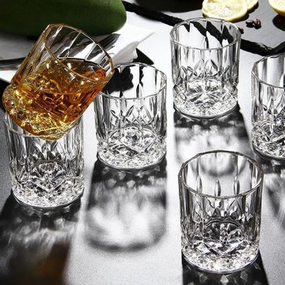 六隻裝無鉛加厚家用玻璃水杯子威士忌杯?石啤酒杯套裝烈酒洋酒杯yi   全館免運