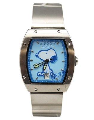【卡漫迷】史奴比 手錶 水藍 日期功能 ㊣版 不鏽鋼 強化水晶玻璃 史努比 男錶 女錶 卡通錶 Snoopy 六折出清