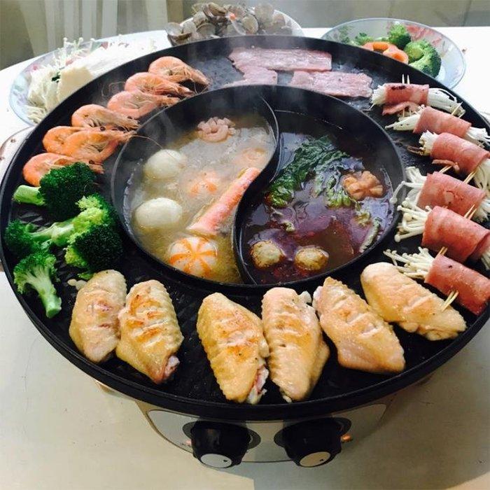 燒烤爐家用電無煙電烤盤韓式烤肉機涮烤火鍋燒烤一體鍋家用烤肉鍋 IGO