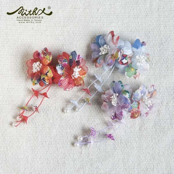 【MITHX】櫻福,雙花慶,小側夾,髮夾,造型髮飾-三色