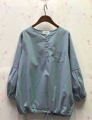 POPCORN時尚小鳥格手袖壓褶拼接上衣