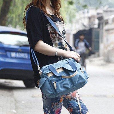 199免運 Effel艾菲爾-新款韓國面料 多口袋實用 休閒帆布 斜背包(藍色)