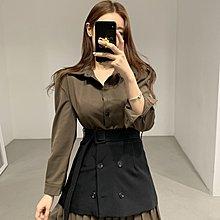 Cicigo韓國服飾 正韓 優雅氣質翻領襯衫式百褶連衣裙 洋裝 2色/KB21Y-0222-025