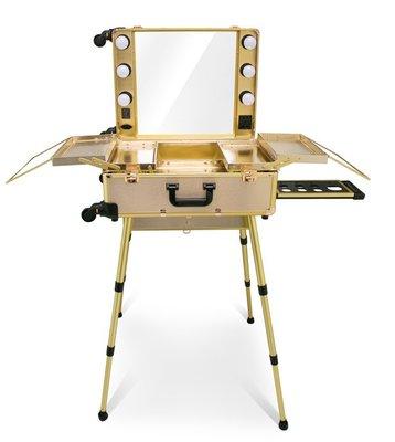 專業化妝旅行拉桿萬向滑輪6顆LED燈鏡行李箱 (金色)福利品