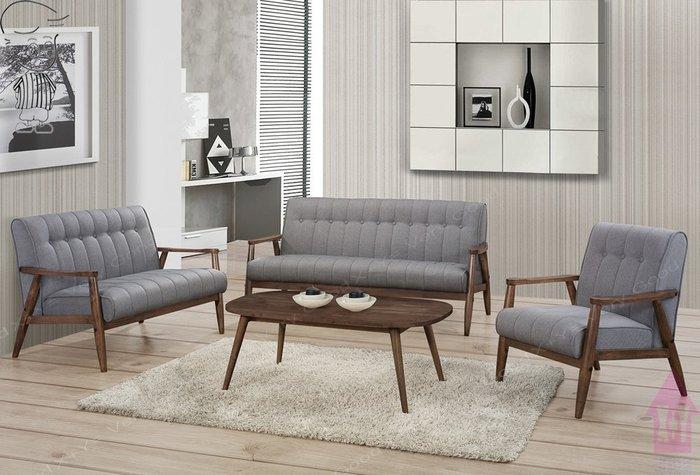 【X+Y時尚精品傢俱】現代沙發組椅系列-提斯 胡桃色布沙發組(1+2+3)不含大小茶几.實木組椅.可拆賣.摩登家具