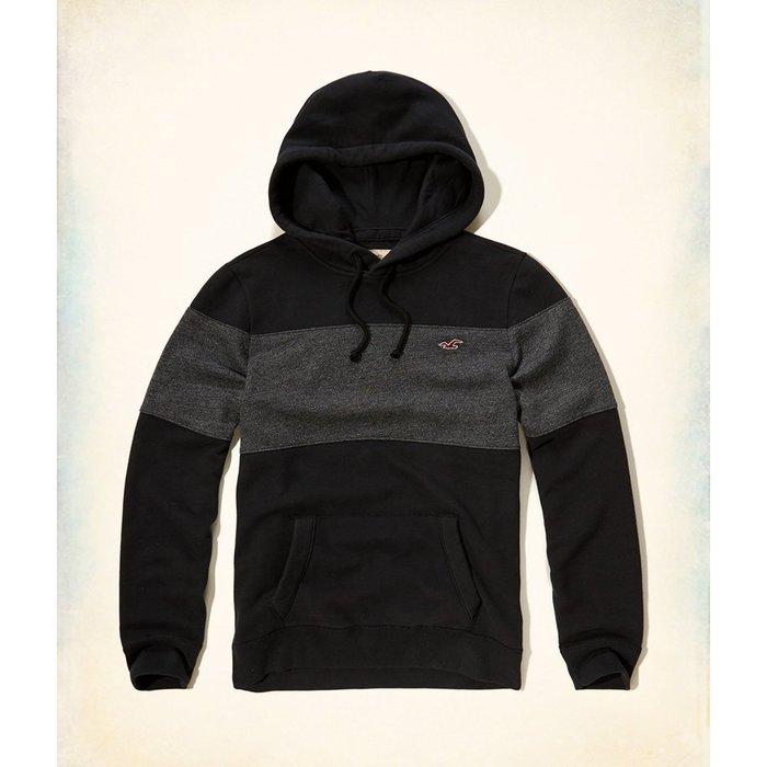 美國百分百【全新真品】Hollister Co. 帽T HCO 連帽 T恤 長袖 上衣 海鷗 黑麻灰 L號 H048