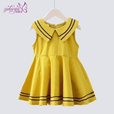 童裝女童夏裝洋裝韓版公主裙洋氣兒童純棉裙女寶寶裙子 韓語空間