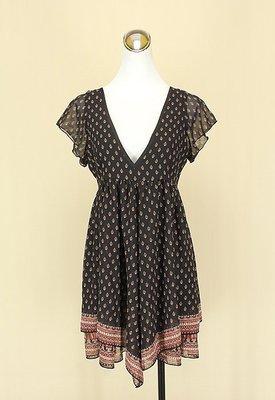 ◄貞新二手衣►moussy 日本黑色v領短袖雪紡紗洋裝M(2號)(12290)