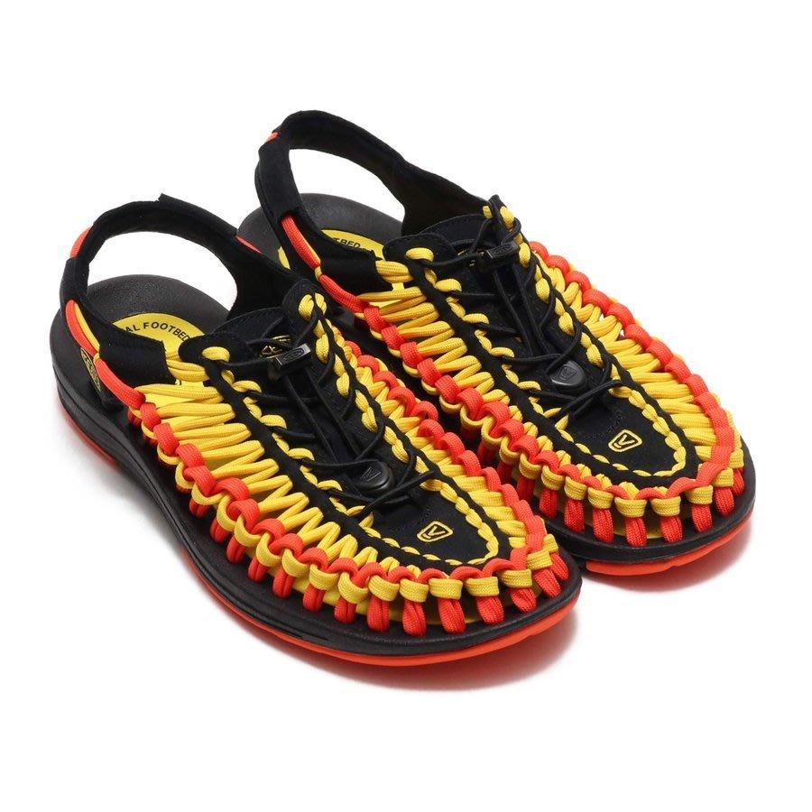 =CodE= KEEN UNEEK FLAT SANDALS 編織彈性綁繩涼鞋(黑黃橘) 1020796 拖鞋 男