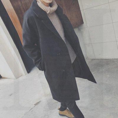 正韓 日系 毛呢 大衣 寬鬆風衣男冬季中長款毛呢外套新款韓版潮流學生帥氣休閑呢子大衣