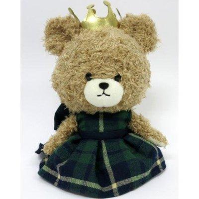 尼德斯Nydus 日本正版 小熊學校 the Bear school 傑琪 Jackie 絨毛玩偶 娃娃 皇冠綠色格紋裙