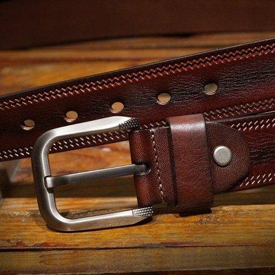 『老兵牛仔』CY-1027正品針扣頭層牛皮腰帶/頭層牛皮/復古/彈力/耐拉/個性