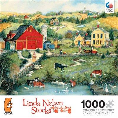 美國進口拼圖 CEO 繪畫風景 鄉村風 牧場農莊 Linda Nelson Stocks.1000片拼圖,3339-8