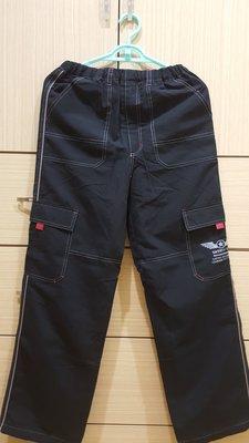 日本品牌  NECESSARY  男大童黑色鬆緊腰側口袋雙層防風長褲  160cm