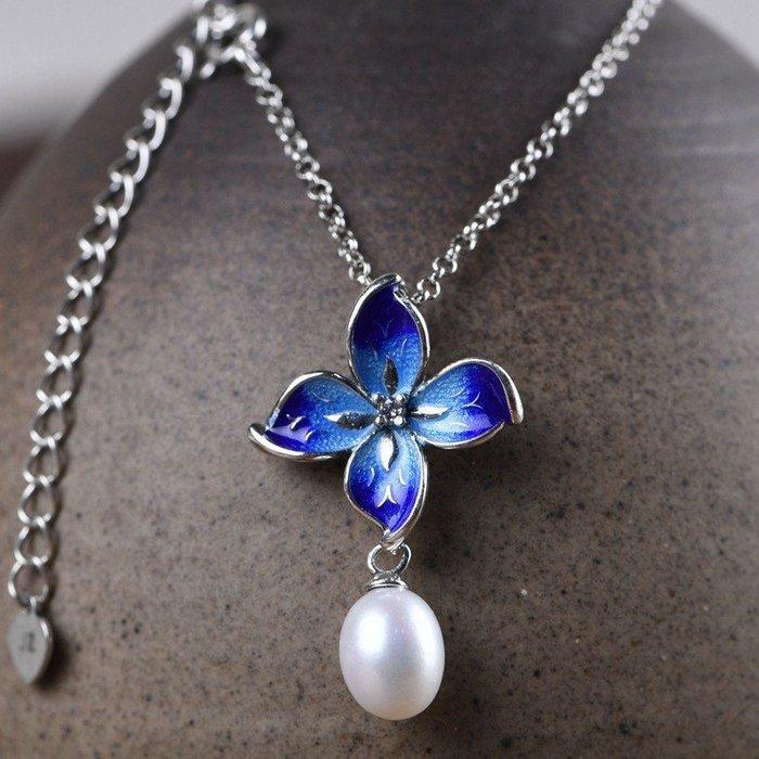 套鍊組 純銀鍊子 淡水珍珠 葉子造型 純銀套鍊 純銀墜子 掛墜項鍊 景泰藍 925純銀項鍊 銀鍊N207