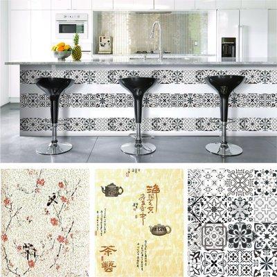 壁貼 壁紙 防水 自黏帶膠 花磚 茶藝 中式花鳥 墻貼 45*300cm 台灣現貨