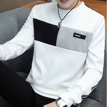 男生長袖M-3XL 男士t恤 長袖t恤 韓版潮流 圓領修身 韓系上衣學生衛衣 大碼汗衫 時尚百搭