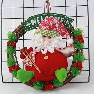 聖誕節裝飾品30CM花環門飾藤條花圈門掛環圈櫥窗掛飾場景布置用品