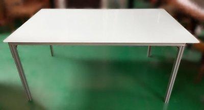 樂居(中)二手家具 全新中古傢俱家電 E121001*白玻璃鐵腳餐桌 休閒桌*二手桌椅 辦公桌 電腦桌書桌 台北桃園台中