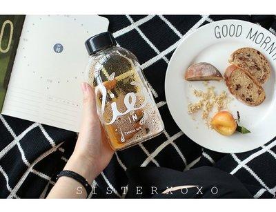 Sisterxoxo 韓國文具雜貨代購 簡約北歐風字母大容量玻璃水杯 水果排毒杯 隨手杯 水瓶 12款
