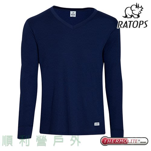 瑞多仕RATOPS 男款THERMOLITE長刷毛V領保暖內衣 DB4506 暗藍色 衛生衣 OUTDOOR NICE