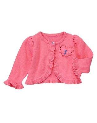 美國GYMBOREE正品 Swingy Ruffled Cardigan 粉色荷葉邊針織外套 6~12m ..售290元